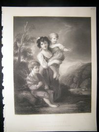 Children 1850 Steel Engraving. Cottage Children